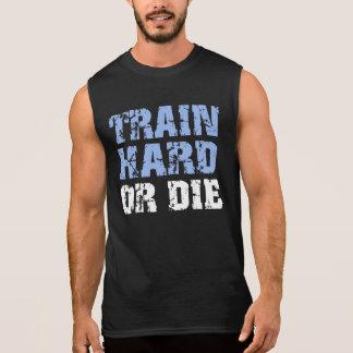 El tren difícilmente o muere (el azul) playera sin mangas