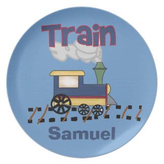 El tren personalizado embroma la placa plato
