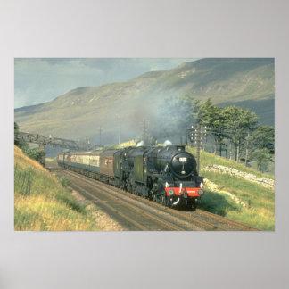 El tren por último vapor-acarreado del ferrocarril póster