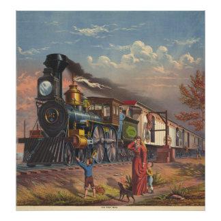 El tren rápido del servicio postal del correo a pa arte con fotos