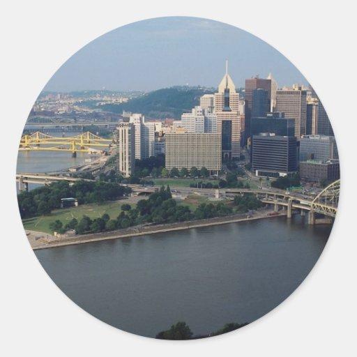 El triángulo de oro de Pittsburgh, Pennsylvania, Pegatinas Redondas