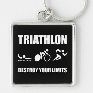 El Triathlon destruye Llavero Cuadrado Plateado