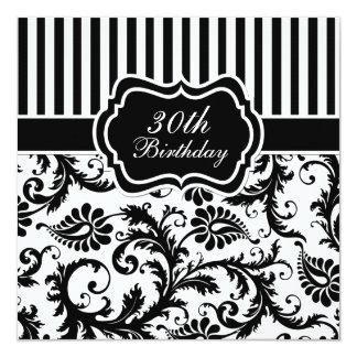 """El trigésimo cumpleaños de la raya floral blanco y invitación 5.25"""" x 5.25"""""""