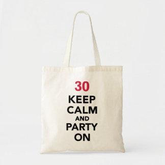el trigésimo cumpleaños guarda calma y va de bolsa tela barata