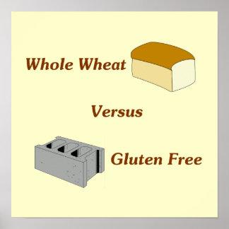 El trigo integral contra el gluten libera impresiones