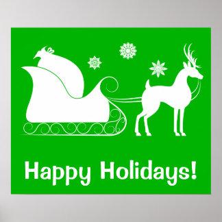 El trineo de Santa buenas fiestas Póster