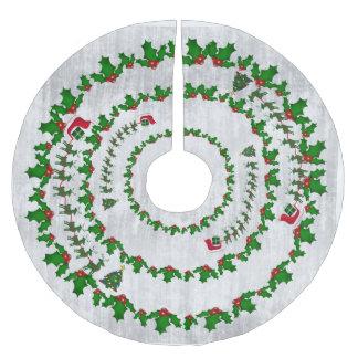 El trineo de Santa con el reno y el acebo Falda Para Arbol De Navidad De Poliéster