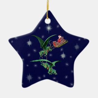 El trineo de Santa con los dragones Adorno Navideño De Cerámica En Forma De Estrella