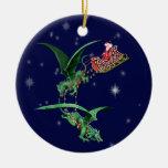 El trineo de Santa con los dragones Ornamento Para Arbol De Navidad