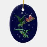 El trineo de Santa con los dragones Ornamente De Reyes