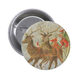 El trineo de Santa del vintage Pin Redondo De 2 Pulgadas