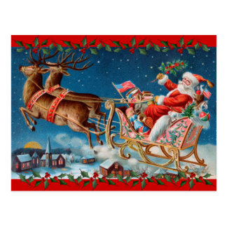 El trineo de Santa del vintage Postales