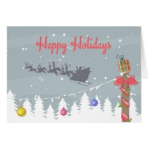 El trineo de Santa en cielo del invierno Tarjeta
