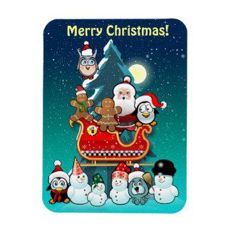 El trineo de Santa por el árbol de navidad Rectangle Magnet