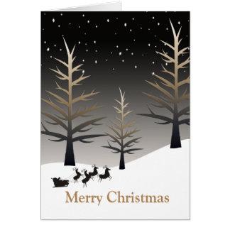 El trineo de Santa y silueta del árbol Tarjeta De Felicitación