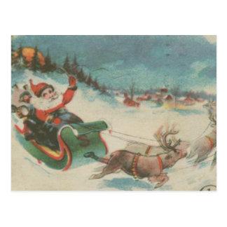 El trineo y el reno de Santa del vintage Tarjetas Postales