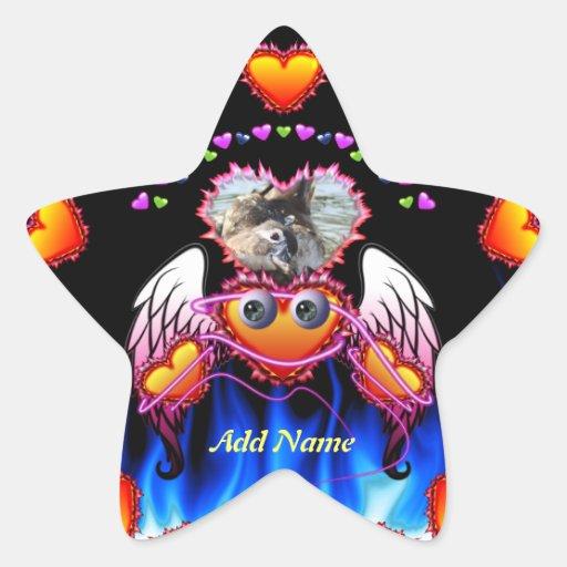 El trío de los corazones con los ojos en fuego y á calcomania forma de estrella personalizada