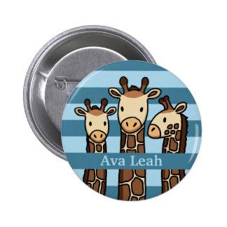 El trío lindo de la jirafa del bebé, añade el pin redondo 5 cm