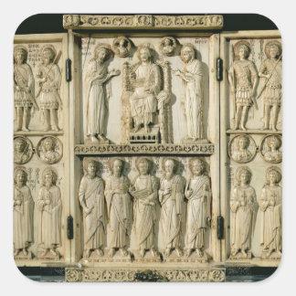 El tríptico de Harbaville que representa a Cristo Pegatina Cuadrada