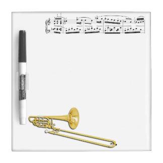 El Trombone (bajo) seca al tablero del borrado Pizarra Blanca