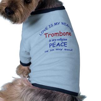 El Trombone es mi religión Camiseta Con Mangas Para Perro
