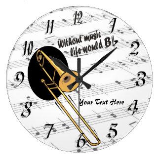 El Trombone sin vida de la música B WallClock plan Relojes