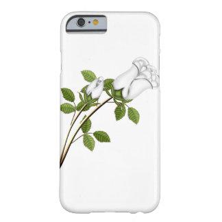 El tronco de plata de los rosas blancos sale de la funda de iPhone 6 barely there
