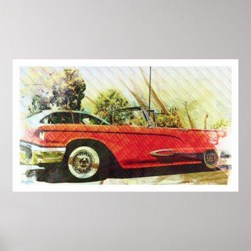 el trueno del verano rueda el coche del oldschool poster