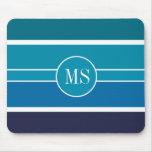 El trullo azul raya el modelo del monograma tapetes de ratones
