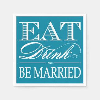 El trullo come, bebida y esté casado casando servilleta de papel