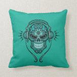 El trullo DJ azul azucara el cráneo Almohada