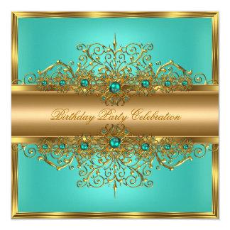 """El trullo elegante del jade del oro gotea a la invitación 5.25"""" x 5.25"""""""