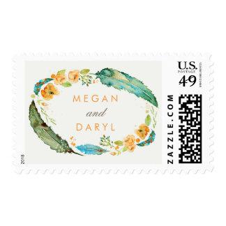 El trullo empluma el boda bohemio timbre postal