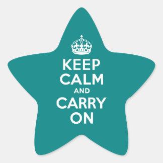 El trullo guarda calma y continúa calcomanía forma de estrella personalizadas