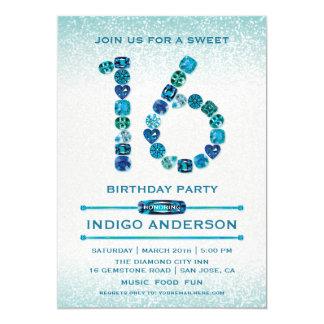 El trullo Jewels el dulce 16 invitaciones de la Invitación 12,7 X 17,8 Cm