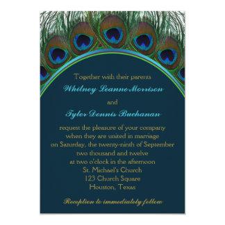 El trullo, pavo real del oro empluma la invitación invitación 12,7 x 17,8 cm