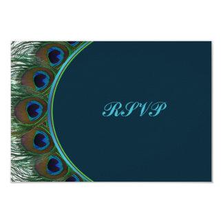 El trullo, pavo real del oro empluma la tarjeta de invitación 8,9 x 12,7 cm
