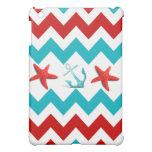 El trullo rojo Chevron de la playa náutica ancla e iPad Mini Fundas