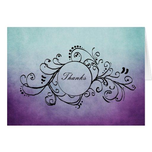 El trullo rústico y el bohemio púrpura le tarjeta pequeña