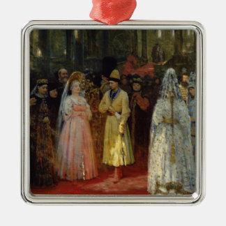 El Tsar que elige a una novia, c.1886 Adorno Navideño Cuadrado De Metal