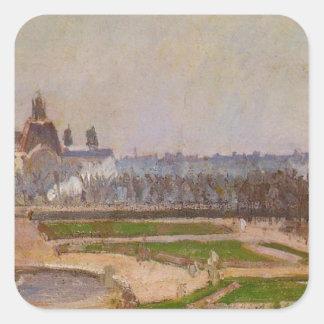 El Tuileries y el Louvre de Camille Pissarro Pegatina Cuadrada