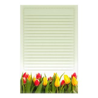 El tulipán amarillo rojo florece el fondo verde al  papeleria