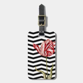 El tulipán Chevron botánico raya el modelo Etiqueta De Equipaje
