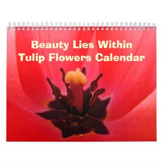 El tulipán de los regalos de Calandar florece Calendario De Pared