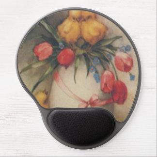 El tulipán del polluelo del huevo de Pascua me olv Alfombrilla De Raton Con Gel