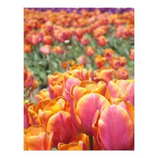 El tulipán florece el papel Scrapbooking del libro Plantilla De Membrete
