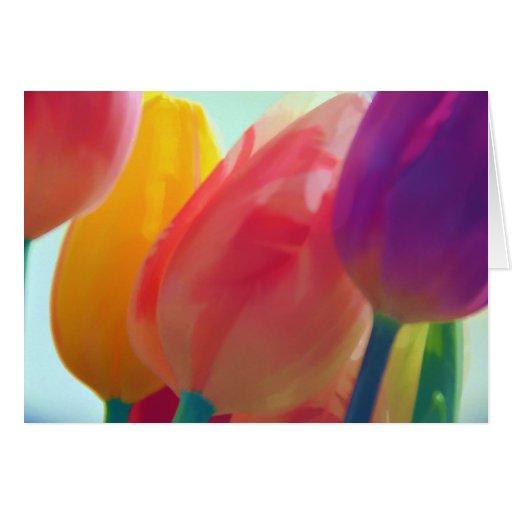 El tulipán hincha la tarjeta de felicitación
