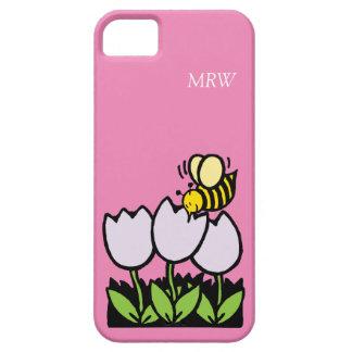 El tulipán lindo de la abeja del dibujo animado funda para iPhone SE/5/5s