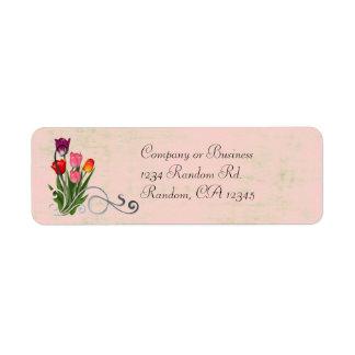 El tulipán remolina las etiquetas en colores paste etiquetas de remite