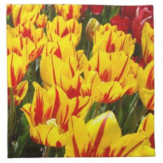 El tulipán rojo amarillo florece la primavera de l servilleta